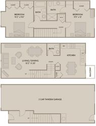 2 bed 2.5 Bath 1325 square feet floor plan B